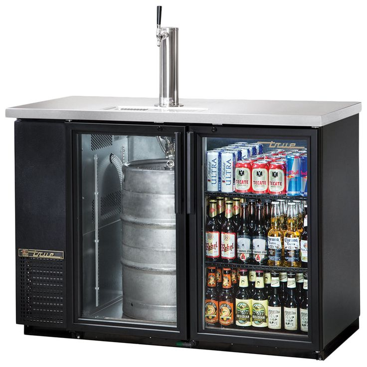 "True TDB-24-48G 49"" Back Bar Direct Draw Beer Dispenser with Two Glass Doors"