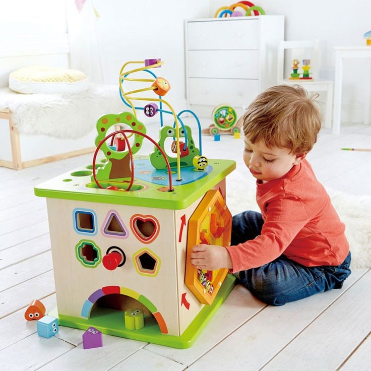 Five different manipulative activities of this Hape's Country Critters Play Cube guarantees to keep toddlers' attention for hours of beneficial play!