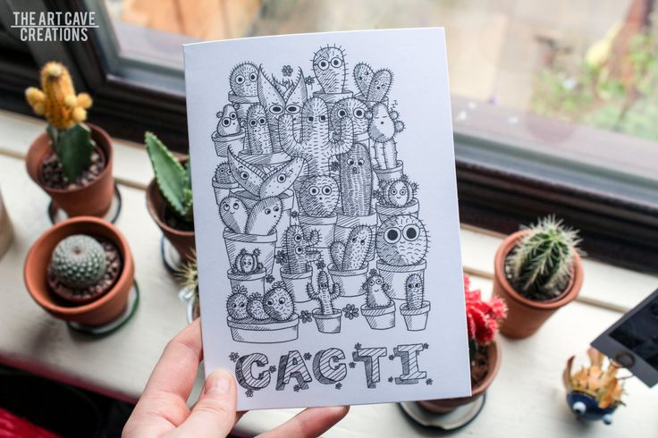 Cartoon Cactus Greetings Card - Black and White by TheArtCaveCreations on Etsy