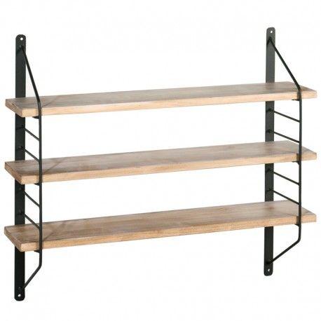 Estantería de pared 3 baldas en metal y madera