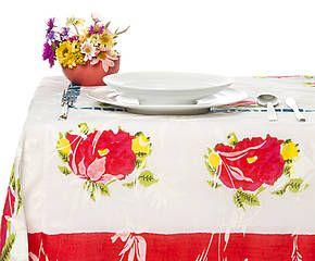 Tovaglia in mussola di cotone Big Roses bianco - 180x180 cm