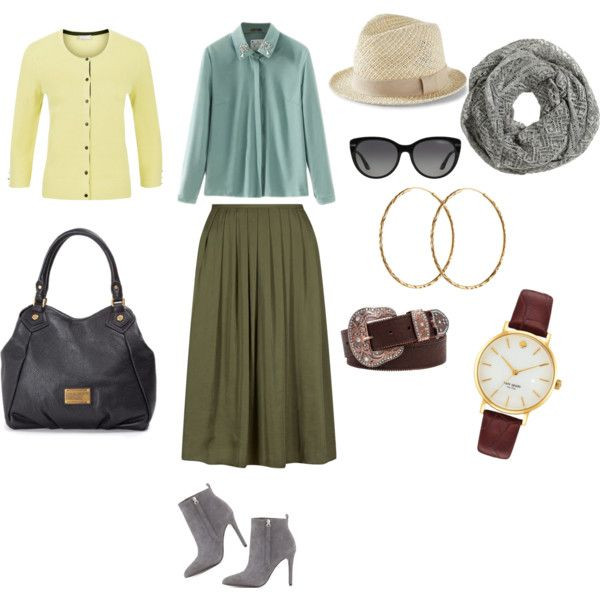 Olive Skirt + Lemon Cardi by edeln on Polyvore featuring, Planet, Pour La Victoire, MARC BY MARC JACOBS, Kate Spade, Pernille Corydon, BKE, Express and H&M