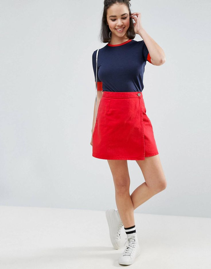ASOS denim wrap skirt in red