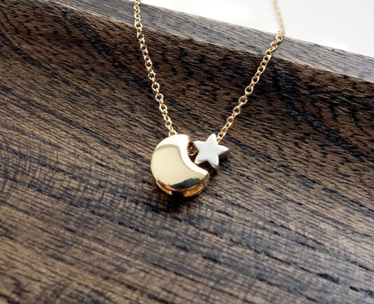 Celestial Moon And Star Necklace / Crescent Moon Necklace / I Love You To The Moon And Back / Simple Gold Necklace. $28.00, via Etsy.