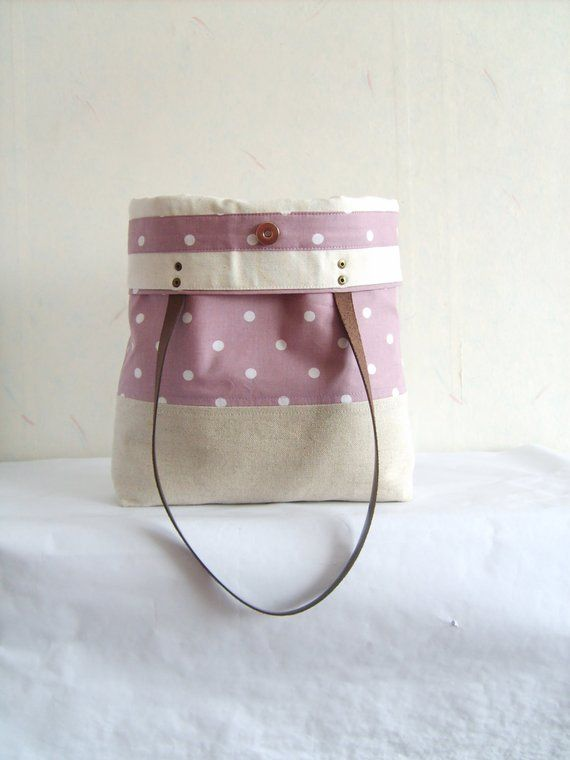 001b69a40 Polka dot tote, Orchid purple tote bag, pastel orchid tote bag, linen tote, canvas  bag, leather stra | กระเป๋า | Tote bag, Leather handle, Purses, bags