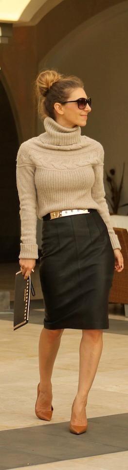 Fall / winter - work outfit - business casual - leather pencil skirt camel turtleneck sweater black stilettos metallic belt
