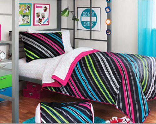 Teen Girl Bed Sets Cover Purple Striped Teen Girls Full Size Comforter