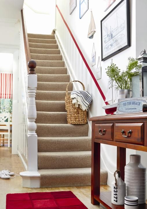 Reinvigorate your hallway with stylish gallery pieces and a vibrant painted stripe. #nautical #coastal #hamptons
