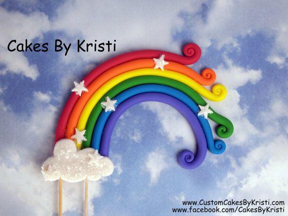 Fondant Rainbow Cake Topper 8 by CakesByKristi on Etsy