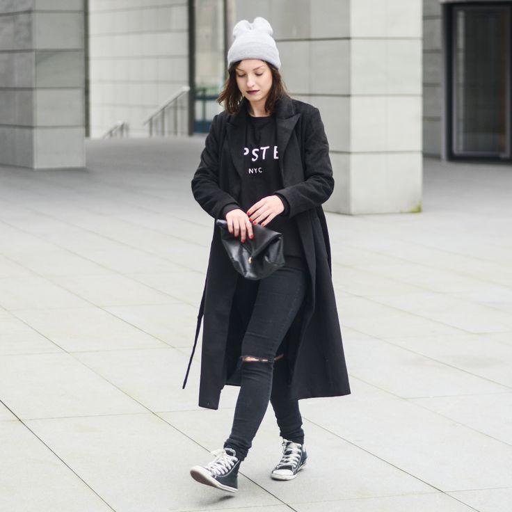 #mango #hipster #black #coat #sheinside #long #conferse #fashion #streetstyle