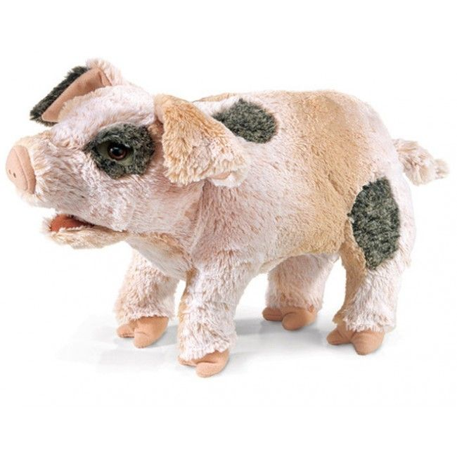 Folkmanis' Grunting Pig puppet is not only luxuriously soft with silky pink and grey plush, but squeeze his piggy pot belly and he makes a delightfully-entertaining grunting noise — guaranteed to create squeals of delight! #folkmanis #puppet #Christmas2014