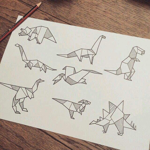 Origami de dinosaurios.