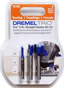 3pc Carbide Straight Router Bit Set Dremel Trio TR750
