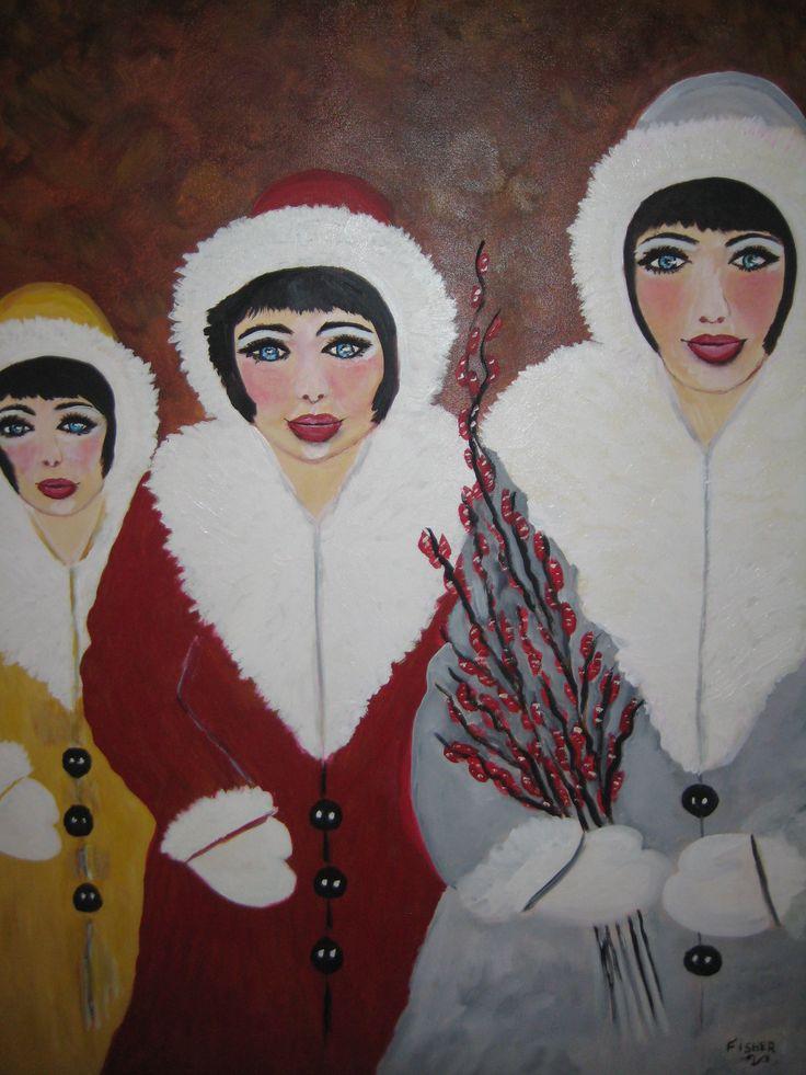 Les 3 soeurs 36 x 24 par Louise Fisher Sanscartier acrylique