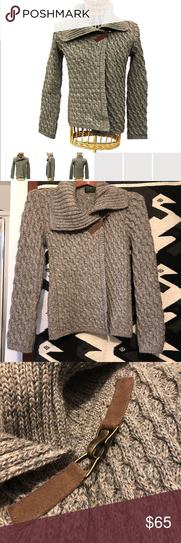NWOT 100% British Wool Crossover Cardigan Sweater Beautiful Glencroft 100% British wool sweater made in the UK. Speckled gray color. Like new condition. Smoke and pet free home!   Description: This luxury ladies cardigan is made from high quality British wool in a waffle knit pattern. A perfect match to a number of different outfits, it also has a large collar and asymmetric buckle fastener. Buckle fastener made from real leather and brass. Glencroft Sweaters Cardigans