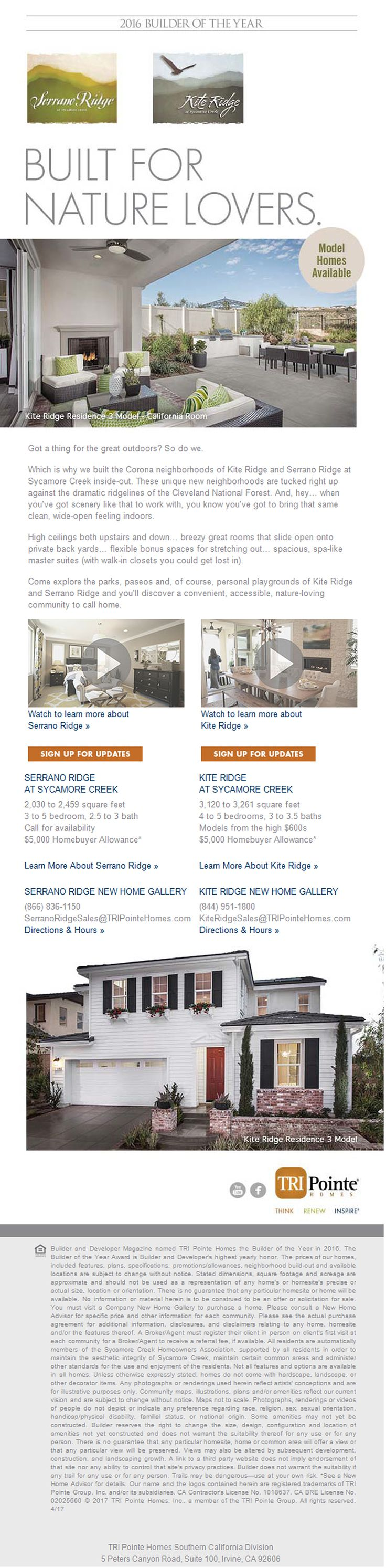 New Homes for Sale in Corona, California  Model Homes Now Selling at Sycamore Creek in Corona   Unique Neighborhoods Tucked up Next to the Cleveland National Forest  |  High Ceilings  |  Breezy Great Rooms  |  Private Back Yards  |  Flexible Bonus Space  |  Spa-Like Master Suites  |  $5,000 Homebuyer Allowance*  Kite Ridge:  http://www.tripointehomes.com/southern-california/kite-ridge-at-sycamore-creek/  Sycamore Ridge…