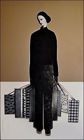 Khaled Takreti 'The Shopping Day' 195 x 117 cm. Acrylic on Canvas 2011
