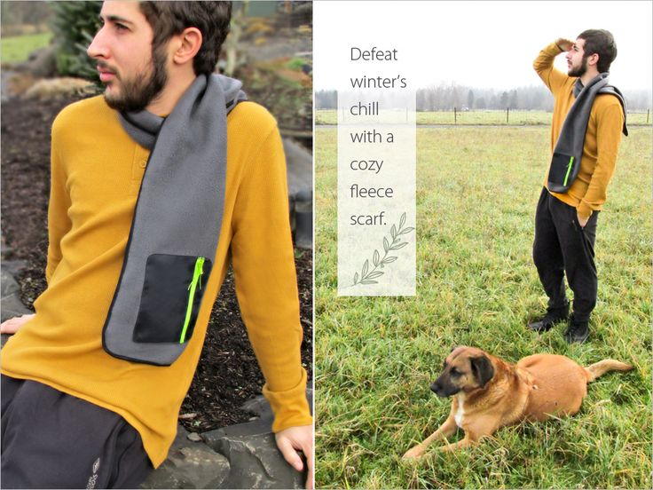 """Good Gifts for Guys: Fleece Scarf with Zippered Pocket - I'm not sure any of my """"guys"""" would wear this but I would so I might have to make one for me!"""