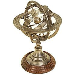 @Overstock.com - Engraved Brass Tabletop Armillary Nautical Sphere Globe - With its classic design and stunning brass finish, this nautical armillary sphere makes a distinctive addition to your home or office. Crafted with a solid wood base, the sphere features elegant engraved rings that add style to any room.  http://www.overstock.com/Home-Garden/Engraved-Brass-Tabletop-Armillary-Nautical-Sphere-Globe/4378718/product.html?CID=214117 $58.99