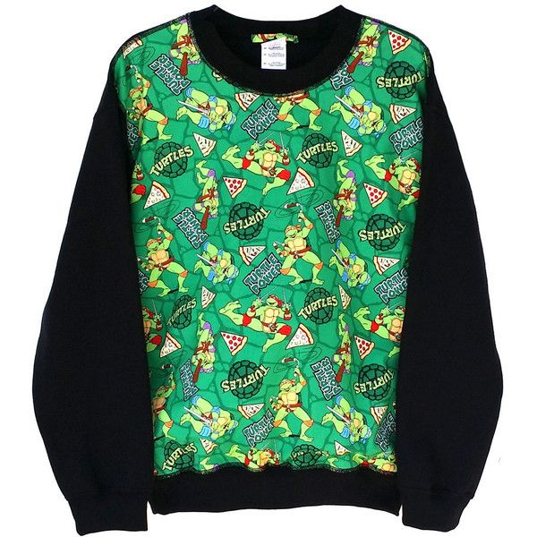 Teenage Mutant Ninja Turtle Comic Patched Unisex Fleece Crewneck... ($27) ❤ liked on Polyvore featuring tops, hoodies, sweatshirts, shirts, sweaters, black, women's clothing, crewneck sweatshirt, baggy shirt and cartoon shirt