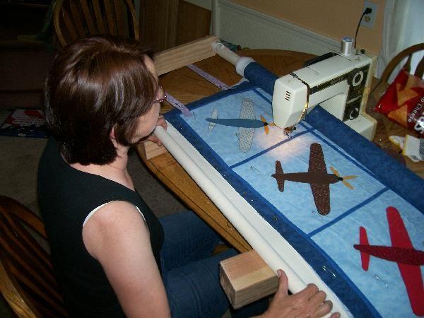 DIY machine quilting frame.