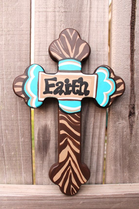 Items Similar To Faith Wall Cross   Faith Home Decor   Brown And Tan Zebra  Wall Decor Cross   Decorative Wall Crosses On Etsy