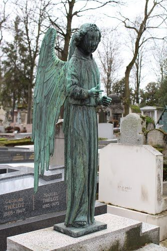 copper colored angels in Paris cemetery - Google Search