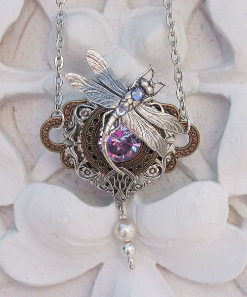 Alexandrite Dragonfly Steampunk Necklace by steamheat on Etsy
