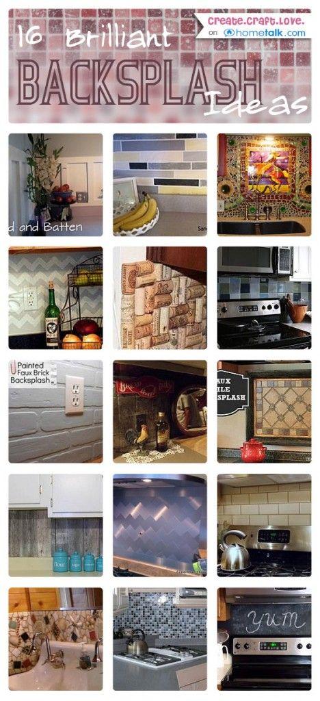 16 Brilliant Backsplash Ideas via createcraftlove.com for hometalk.com #backsplash #hometalk