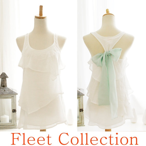 SEASIDE AURA  Sleeveless Snow White Blouse with by FleetCollection, $42.00