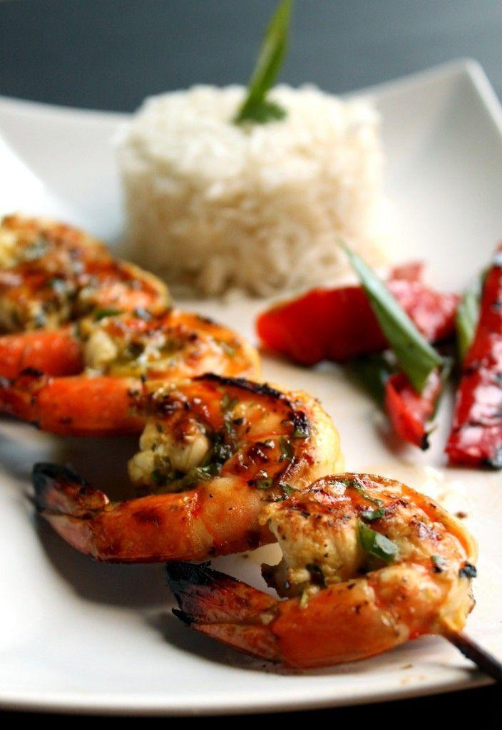 Sweet Jalapeno Glazed Grilled Shrimp with Coconut Rice by pepperedsalt #Shrimp #Coconut #Rice