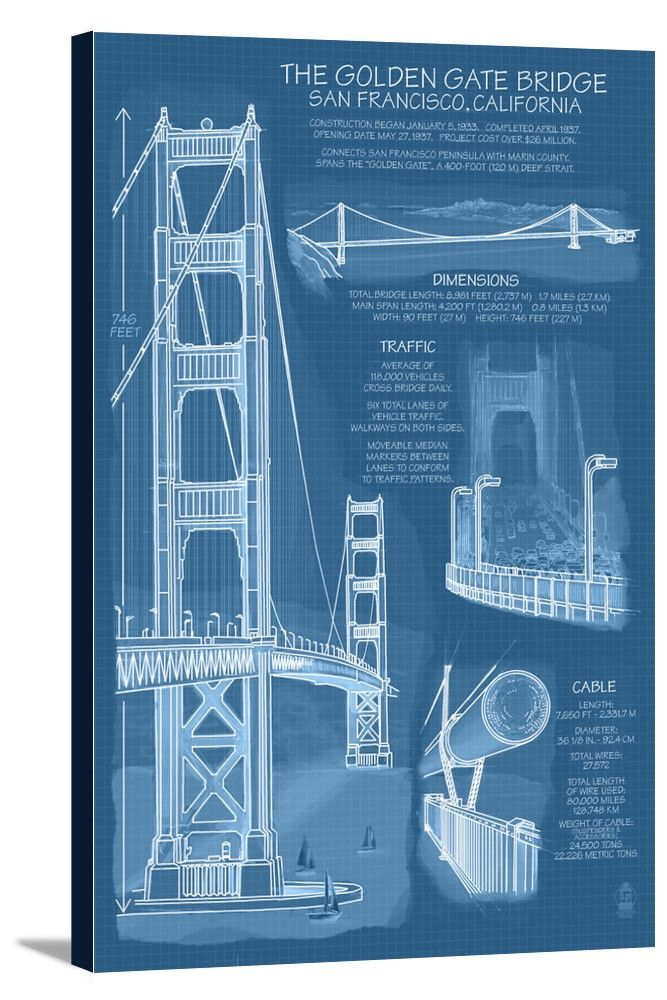 Canvas (Golden Gate Bridge - Technical (Blueprint) - Lantern Press - copy plane blueprint wall art