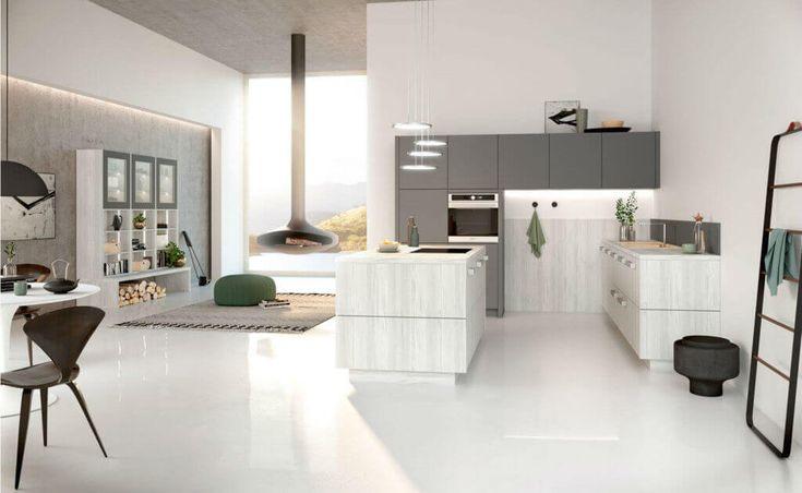 16+ Helle Ideen Ein Wohnzimmer mit offener Küche12 in 2020   Wohnzimmer einrichten, Kleine ...