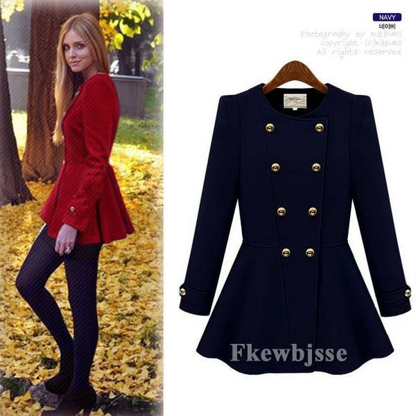 Women Long Sleeve Double-Breasted Peplum Autumn Winter Coat Jacket Outwear Shrug