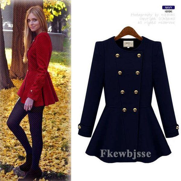 Women Long Sleeve Double-Breasted Peplum Autumn Winter Coat Jacket Outwear Shrug