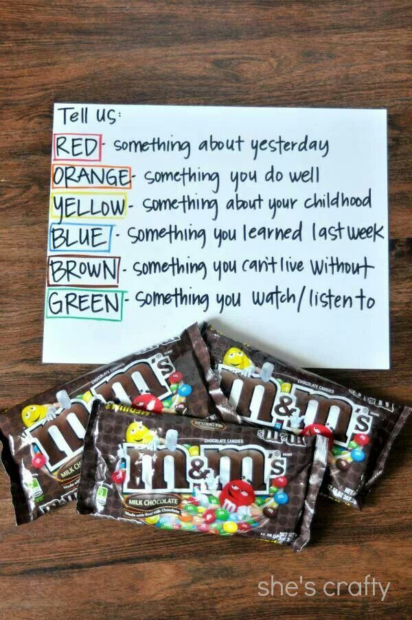 Ice breaker for a mixed company party or for kids. Use any colored manipulative instead of candy in a classroom setting!