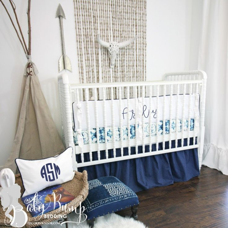 Navy & White Ombre Tribal Gender Neutral Baby Crib Bedding