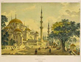 Eugéne Flandin Süleymaniye cami gravürü.Mosquée de Soliman, Constantinople.
