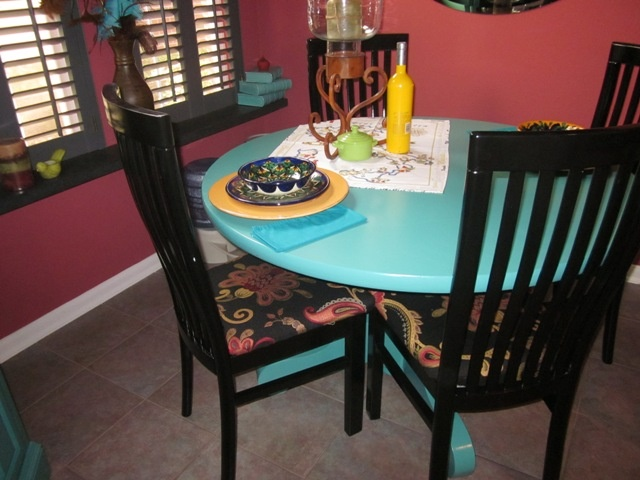 Painted table teal and chairs black31 best Furniture images on Pinterest   Furniture ideas  Home and  . Teal Painted Kitchen Table. Home Design Ideas