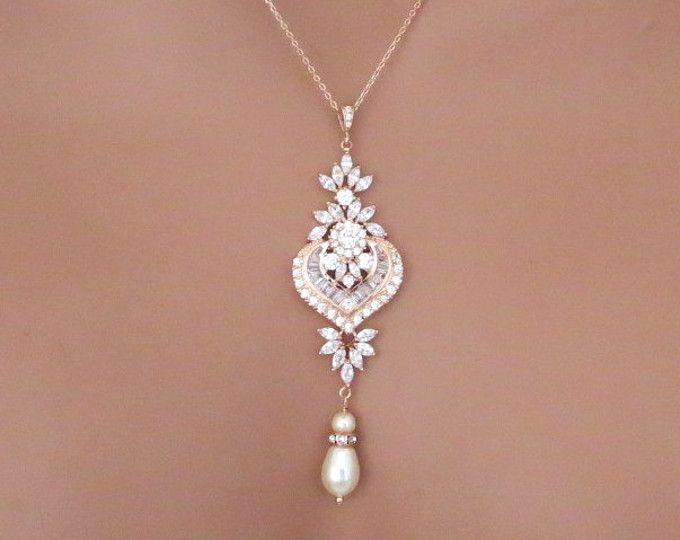 Collar de oro rosa, colgante, collar de Rose Gold, joyería nupcial, collar de oro color de rosa de Dama de honor, collar de la boda, collar de perlas, EMMA
