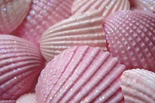 Pink glitter seashells.