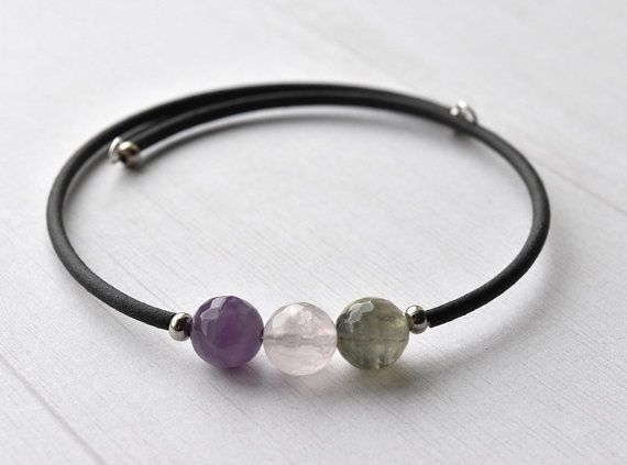 Gemstone Bracelet Rainbow Fluorite Fluorite by KittyBallistic