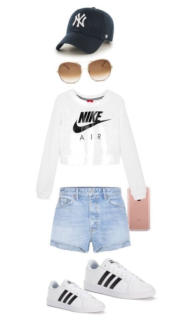 """""""Cute  Nike outfit with Adidas"""" by janessa-arvanis ❤ liked on Polyvore featuring Belkin, adidas, NIKE, GRLFRND, '47 Brand and Chloé"""