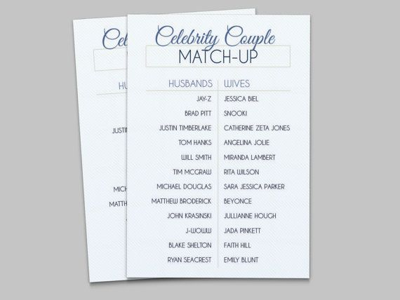 celebrity couple match up bridal shower game instant