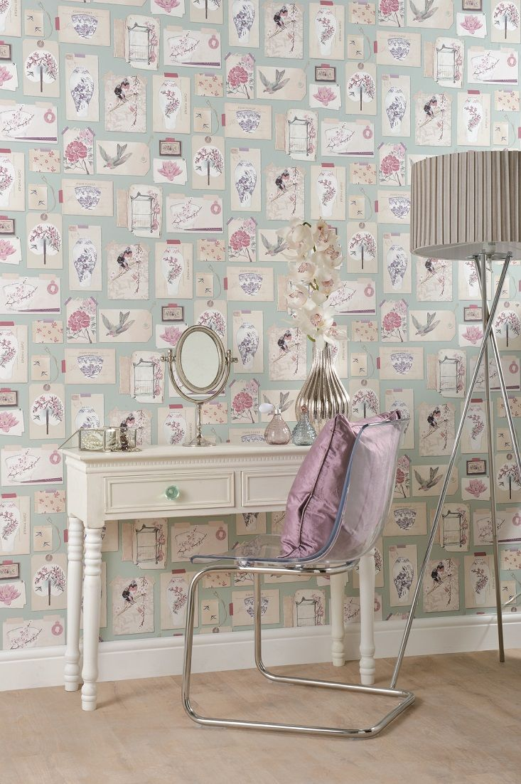A scrapbook style collection of Japanese inspired treasure make up this beautiful wallpaper design.