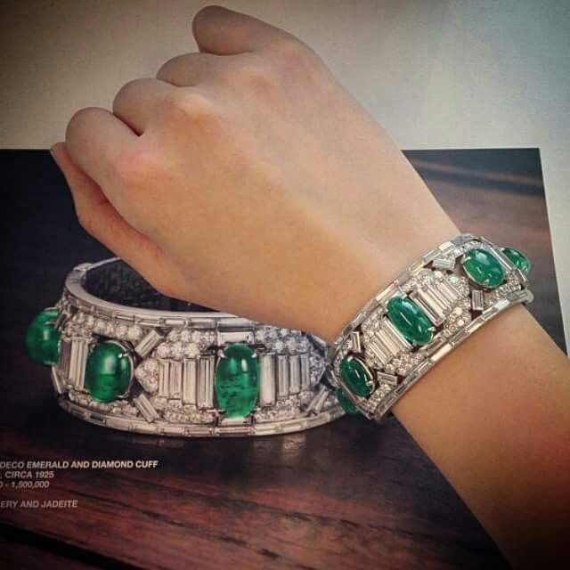 A classic emerald and diamond cuff by Cartier combines the geometry of Art Deco with a brilliant juxtaposition of colour.