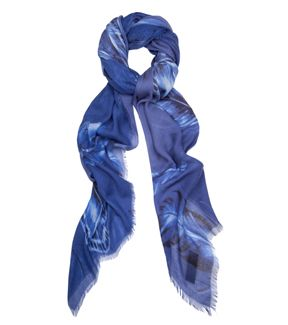 fleur b. Blue Feather Scarf Cashmere Mix