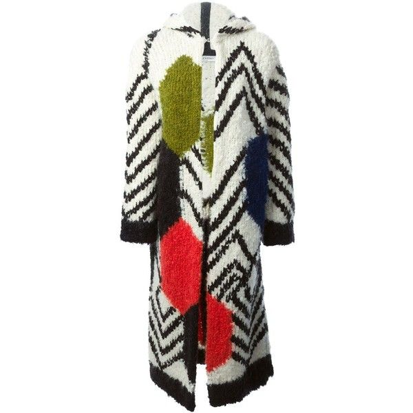 Valentino intarsia oversize coat (23.465 HRK) ❤ liked on Polyvore featuring outerwear, coats, colorful coat, oversized coat, multi colored coat, hooded coat and oversized hooded coat