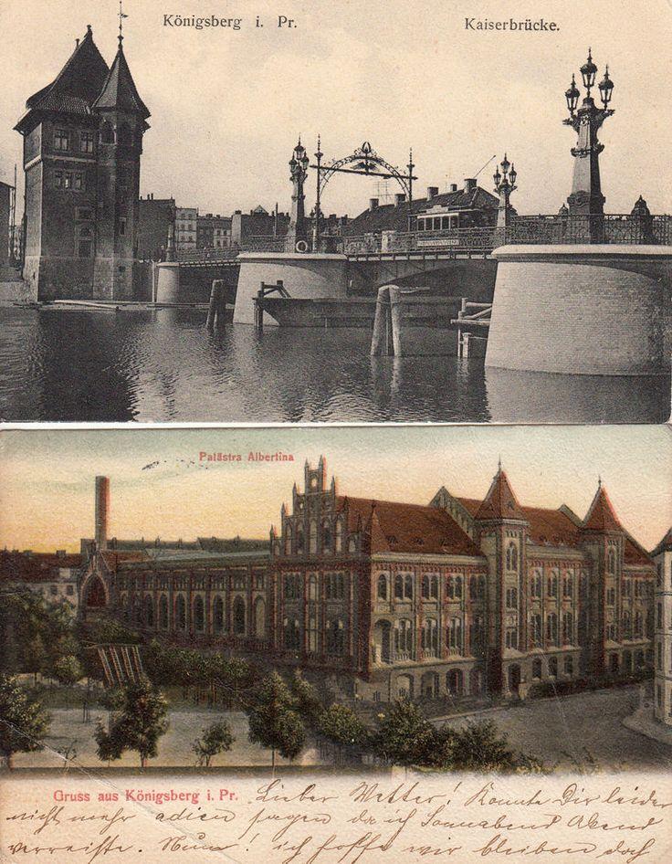 Königsberg i.Pr., Kaiserbrücke und Palästra Albertina, 2 AK