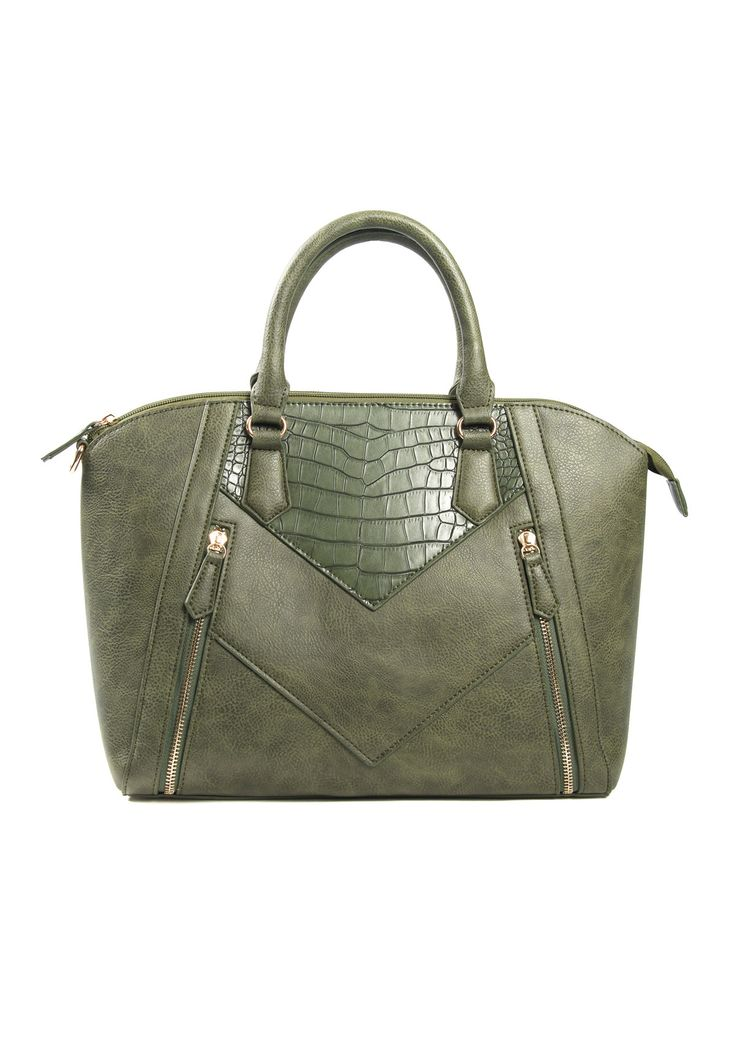 Big handbag in green with a zipper. It has 2 decorative zippers in the front. Perfect for a casual / office look.